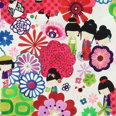 Kaori Kokeshi Brite Indochine from Alexander Henry Fabrics - 7552AR from www.fabricenvy.com