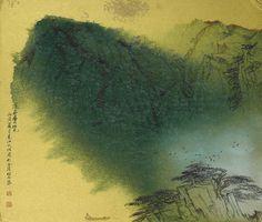 Song Wenzhi (1919-1999) Boating in the Blue and Green Landscape. 宋文治 泛舟賞覽 設色金底卡紙 鏡框 一九八六年  款識:泛舟賞覽。丙寅(1986)夏月,婁江文治寫於金陵松石齋。 鈐印:文治、宋灝之印