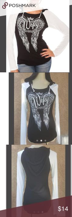 "Wifey Hoodie sweatshirt Wifey Angel Wing Hoodie This Adorable Lightweight Hoodie is Perfect For Anytime Wear! Length: 27"" 95% Rayon, 5% Spandex Lightweight Hoodie   Small bust: 30""-32"" Med bust: 32"" - 34"" Large bust: 34""-36"" Boutique Sweaters"