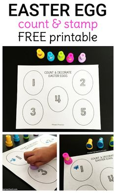 FREE printable Easter egg counting & stamping number activity designed to be toddler and preschool friendly! Two versions are available to encourage successful math practice! Easter Activities For Preschool, April Preschool, Free Preschool, Preschool Learning, Teaching, Math Activities For Preschoolers, Montessori Math, Preschool Printables, Spring Activities