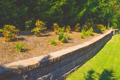 Retaining wall with surrounding landscaping