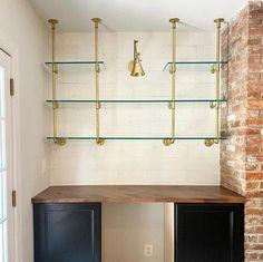 Coin Bar, Custom Shelving, Brass Shelving, Wall Shelving, Diy Home Bar, Home Wet Bar, Closet Bar, Wall Bar, Interior Design