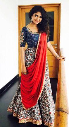 7 Ways To Look Chic In Kalamkari – Fashion in India – Threads Half Saree Designs, Lehenga Designs, Blouse Designs, Indian Attire, Indian Ethnic Wear, Indian Wedding Outfits, Indian Outfits, Indian Clothes, India Fashion