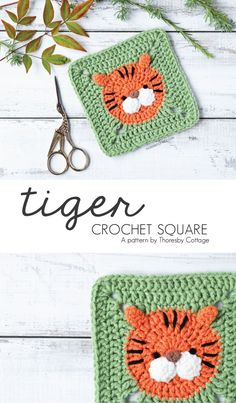 Crochet tiger square / granny square. Perfect pattern for beginners! Use this gorgeous crochet motif on afghans and blankets, cushions and more. A wonderful addition to an animal themed nursery. #crochetpattern #grannysquare #crochettiger