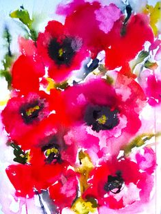"""I bought this beautiful painting!!  Saatchi Online Artist Karin Johannesson; Painting, """"Poppies en masse III (sold)"""" #art"""