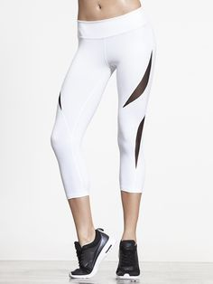 Double Panel Mesh Capri by BEYOND YOGA in White