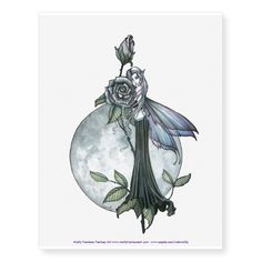 Midnight Rose Large Fairy Temporary Tattoo