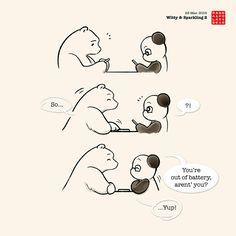 Panda And Polar Bear :: Witty And Sparkling 2 Panda Hug, Baby Panda Bears, Panda Love, Panda Babies, Cute Panda Cartoon, Bear Cartoon, Cute Animal Memes, Animal Quotes, Amor Ideas