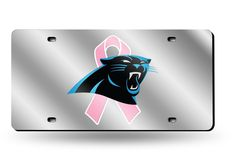 Carolina Panthers BCA (Breast Cancer) Silver Laser Etched License Plate/Tag