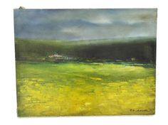 French Rustic Landscape Painting by Pierre Chauvet. French Country Landscape. Original French Art. Green and Yellow Art. (150.00 USD) by LeBonheurDuJour
