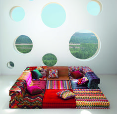OMG I NEED THIS SOFA/BED IN EVERY WAY ONE COULD NEED A COUCH/BED/FUTON/GENIE IN A BOTTLE CUSHIONED COMFY NEST! ~ Roche Bobois - MAH JONG modular sofa upholstered in Missoni Home fabrics https://www.youtube.com/watch?v=73K3pcRCxGY