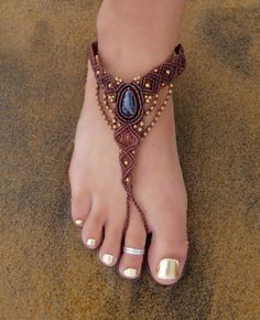 Blue Tiger Eye Macrame Barefoot Sandal  Stone of by EarthCultured