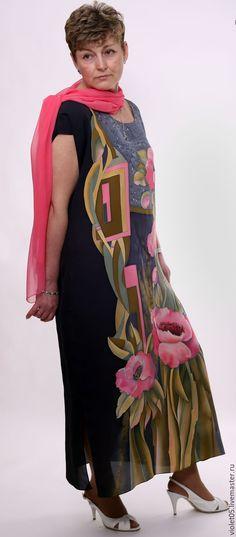 """Купить """"Марго"""" 52-54-56 р-Платье +шарф с коралловыми маками - Батик"""