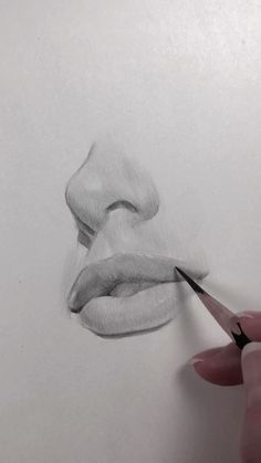 Drawing Lips Videos And Nose - Drawing Bio Arte, Pencil Art Drawings, Art Drawings Sketches, Realistic Drawings, Drawings Of Faces, Indie Drawings, Graphite Drawings, Nose Drawing, Drawing Faces