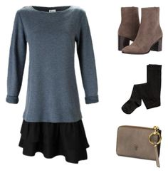 """""""Daytime Knit Dress"""" by finley-shirts-2017 on Polyvore featuring Frye Daytime Dresses, Knit Dress, Polyvore Fashion, Ruffles, Outfit Ideas, Knitting, Blue, Shirts, Outfits"""