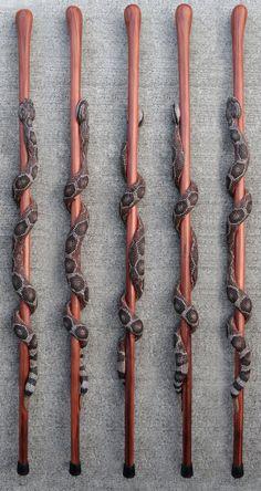 Rattle snake Walking Stick by StinnettStudio on Etsy