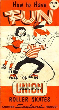 rollerskates ✭ vintage kids ad illustration graphic inspiration