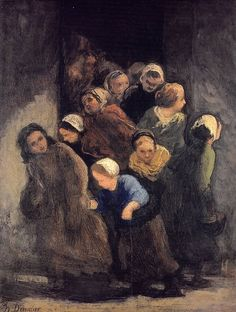 Children Coming Out of School, Honoré Daumier. French Painter, Printmaker, Caricaturist, Sculptor (1808 - 1879)