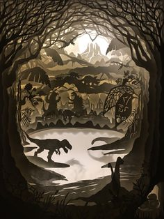 Hari & Deepti style Dinosaurs 12 layered light box. Hand cut paper design. shadow boxes home decor kids light night light custom paper craft Shadow Light Box, Shadow Box Art, 3d Paper, Paper Crafts, Chinese Paper Cutting, Paper Cutting Templates, Origami, Diy Cadeau, Paper Light
