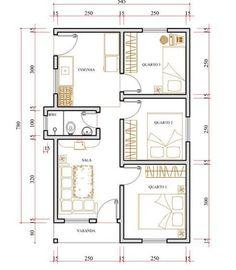 plantas de casas 3 quartos Small Tiny House, Small House Design, Small House Plans, House Floor Plans, 2 Bedroom House Plans, Room Planning, House Layouts, Plan Design, Building Plans