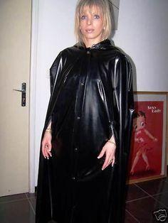Glossy black rubber cape