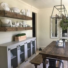 LOVE this feed! Lots of DIY furniture and project ideas! Flex Room, Shanty 2 Chic, Room Interior Design, Dining Room, Kitchen Dining, Entryway Tables, Buffet, Light Fixtures, Farmhouse