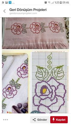 Diy And Crafts, Projects To Try, Towel, Cross Stitch, Embroidery, Flowers, How To Make, Bathroom Towels, Crosses