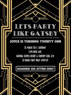 nice Great Gatsby Party Invitations Best Great Gatsby Party Invitations 65 With Additional invitation design Inspiration with Great Gatsby Party Invit. Great Gatsby Party, Great Gatsby Motto, Great Gatsby Invitation, Gatsby Themed Party, The Great Gatsby, Party Invitations, Invitation Templates, Invitation Ideas, Speakeasy Party