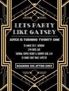 Great Gatsby Party Invite Wording Premium Invitation Template