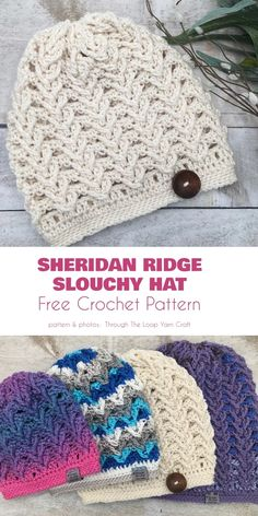 crochet hats Spring may be springing, but it's still not warm enough to full summer. Hat's are generally necessary, certainly early in the morning or the evening. Crochet Crafts, Crochet Projects, Crochet Winter Hats, Crocheted Hats, Crochet Beanie Pattern, Crochet Slouchy Hat, Tsumtsum, Unique Crochet, Knitting Patterns