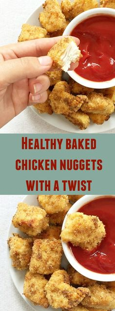 Healthy baked chicken nuggets with a secret ingredient to make them nice and crispy. The best chicken nuggets recipe ever.