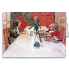 Carl Larsson Custom Christmas Card. Evening Meal by Carl Larrson, 1905.  A charming portrait of an intimate winter evening meal shared by brother and sister. I love the way the way the little boy's hair flies up as he blows on his soup!  Sweden, Swedish art.