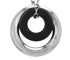 Inori Necklace - DOUBLE RING BLACK AND STEEL - Stainless Steel  Item 1105831563    Inori is a Japanese word meaning Prayer for Harmony, Hope and Balance - an ancient wish in a contemporary, stylish form.    A large and small ring- the large ring is silver stainless steel and the small ring is black steel. One side of the large ring is shiny and one side is textured so you can choose which side you would like to wear to the front.