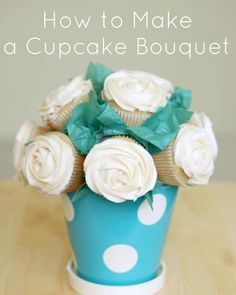 How to Make a Cupcake Bouquet. A tasty treat to present as a gift or for events. #cupcakes #bouquet #dessert #recipe #delicious  #diy #babysdream