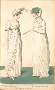 Evening Dress and Walking Dress, August 1801, Fashions of London & Paris