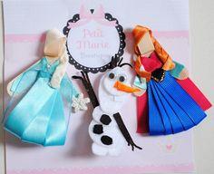 Kit com e esculturas Frozen  1 Elsa  1 Anna  1 Olaf    bico de pato reto importado