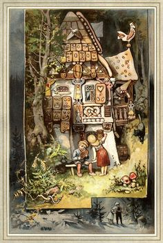 Charles Vess & Greenman Press » Hansel & Gretel at the Witch's gingerbread cottage by Hermann Vogel