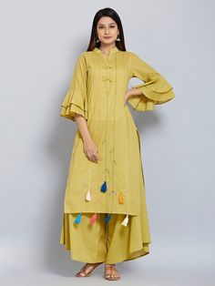 Olive Green Hand Embroidered Cotton Mulmul Tasseled Kurta with Flared Palazzo - Set of 2 Simple Kurti Designs, Kurta Designs Women, Kurti Neck Designs, Kurti Designs Party Wear, Blouse Designs, Kurti Patterns, Dress Patterns, Collection Eid, Jacket Style Kurti
