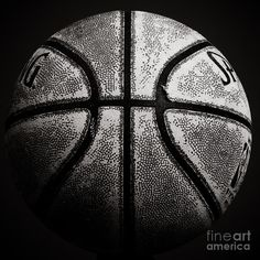 Old Basketball - Black And White Photograph