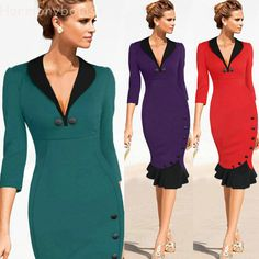 Fashion Women Pencil Dress V-Neck Fishtail Knee length Slim Office Evening  Dress  Harmonybola 3c055518609e