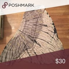 FINAL PRICE! Beautiful tie dye maxi skirt Soft, stretchy material, super comfortable maxi skirt with a fold over top. Looks great high waisted or low, pairs great with black crop tops. Excellent condition only worn 4 times. Skirts Maxi
