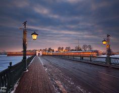 Петропавловская крепость, Кронверкский мост, зима, город