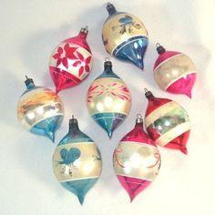Box Fantasia Poland 1950s Fancy Teardrop Gl Christmas Ornaments Boxed Ornament Sets