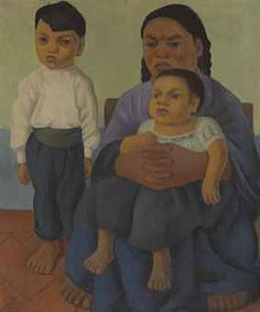 Diego Rivera (Mexican 1886-1957)   Madre con hijos  (also known as Mother with Two Children)  signed and dated 'Diego Rivera, 26' (lower left)   oil on canvas   25¾ x 21¼ in. (65.4 x 54 cm.)   Painted in 1926.   Latin American