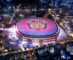Barcelona unveil new images and videos for their re-designed stadium - the New Camp Nou! Videos and images of the New Camp Nou. Fc Barcelona, Camp Nou Barcelona, Barcelona Football Stadium, Soccer Stadium, Football Stadiums, Uk Football, Ac Milan, Barca News, Stadium Architecture