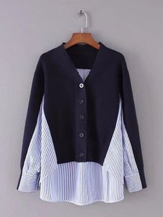 Casual Stripe Patchwork Irregular Long Sleeve Blouses For Women