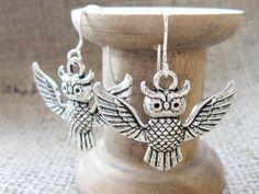 Flying Owl Silver Earrings