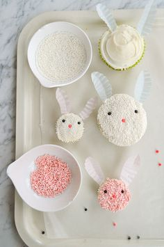Button-nosed bunnies - Easter cupcake decorating ideas