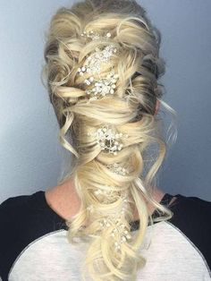 Exquisite long bridal hair vine done with shining crystal and pearl beads, silver artistic wire. This crystal hair piece will add a touch of elegance to any hairstyle you choose for your wedding. Many pearl beads makes this wedding headpiece even more stylish. This refined hair