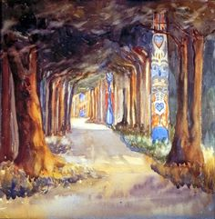 Art Canada Institute, Emily Carr, Totem Walk at Sitka, 1907 Canadian Painters, Canadian Artists, Canadian Things, Emily Carr Paintings, Group Of Seven, Post Impressionism, Impressionist Paintings, Oil Paintings, Art Gallery